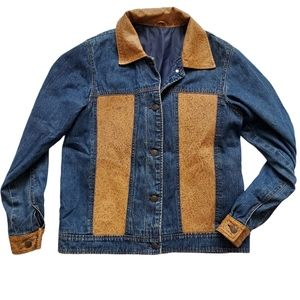 Vtg 80s 90s Denim and leather(?) Paneled Jacket